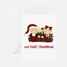 Twin Boy and Girl 1st Christmas Greeting Cards (Pk