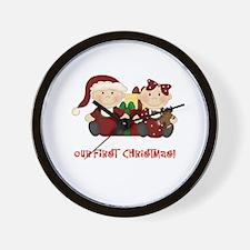 Twin Boy and Girl 1st Christmas Wall Clock