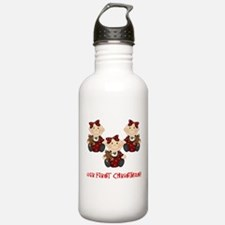 Triplet Girls First Christmas Water Bottle