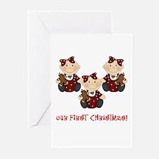 Triplet Girls First Christmas Greeting Cards (Pk o