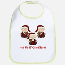 Triplet Boys First Christmas Bib