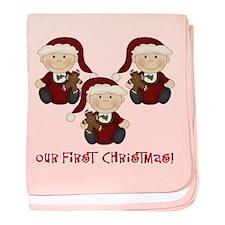 Triplet Boys First Christmas baby blanket