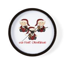 Triplet Boys First Christmas Wall Clock