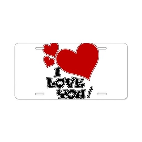 I Love You - Hearts Aluminum License Plate