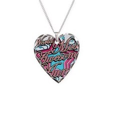 Worlds Most Awesome Aunt Necklace Heart Charm