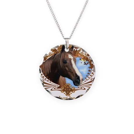 I'd Rather Be Riding, Horse Necklace Circle Charm