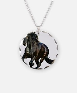 Black Stallion Horse Necklace Circle Charm