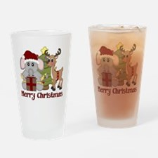Christmas Elephant and Reinde Drinking Glass