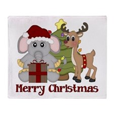 Christmas Elephant and Reinde Throw Blanket