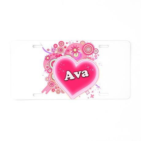 Ava Heart Art Aluminum License Plate