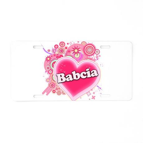 Babcia Heart Art Aluminum License Plate