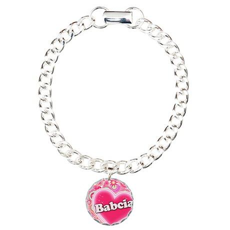Babcia Heart Art Charm Bracelet, One Charm