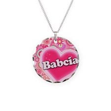 Babcia Heart Art Necklace Circle Charm