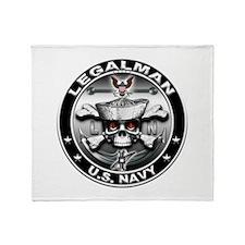 USN Legalman Skull LN Throw Blanket