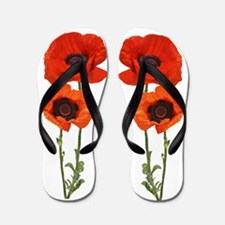 Red Poppies Flip Flops
