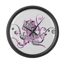 PURPLE OCTOPUS Large Wall Clock