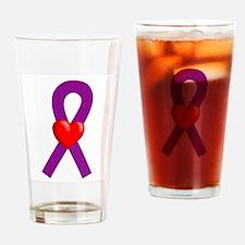 Purple Heart Ribbon Drinking Glass