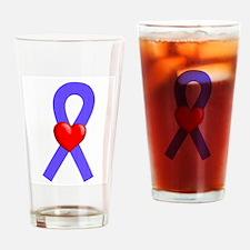 Periwinkle Heart Ribbon Drinking Glass