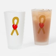 Gold Heart Ribbon Drinking Glass
