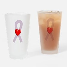 Orchid Ribbon Heart Drinking Glass