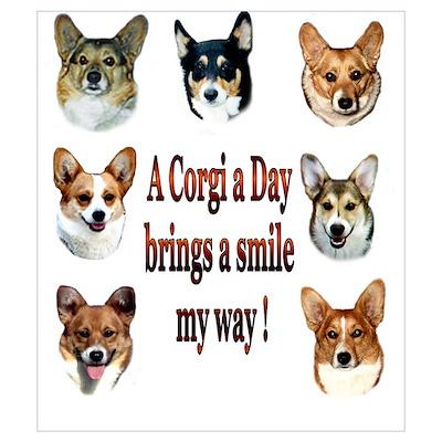 A Corgi a Day Brings a Smile Poster