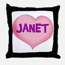 janet heart Throw Pillow