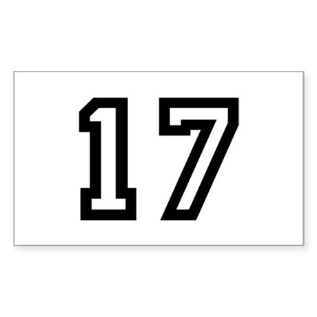 Number 17 Rectangle Sticker