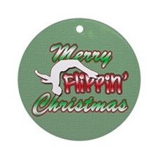 Gymnastics Flippin' Christmas Ornament (Round)