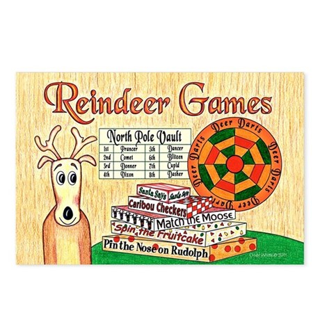 Reindeer Games Christmas Postcards (Pk of 8)