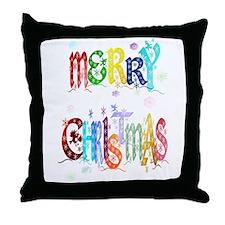 Colorful Merry Christmas Throw Pillow