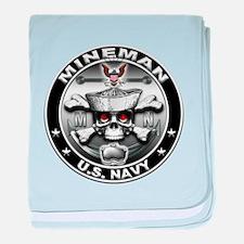 USN Mineman Skull MN baby blanket