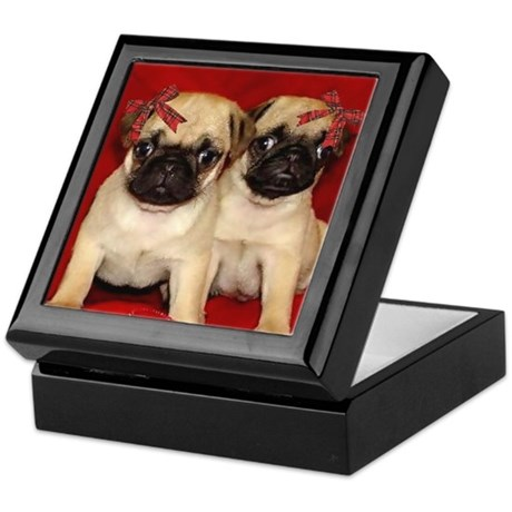 Christmas Pug Puppies Keepsake Box