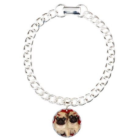 Christmas Pug Puppies Charm Bracelet, One Charm