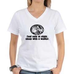Feel Safe Sleep with a Welder Women's V-Neck T-Shi