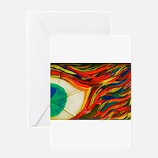 Firey Shattered Green Eye Greeting Card