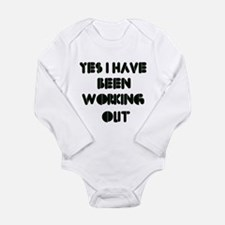 Funny gym designs Long Sleeve Infant Bodysuit