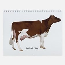 Red and White Holstein cow Wall Calendar