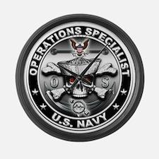 USN Operations Specialist Sku Large Wall Clock