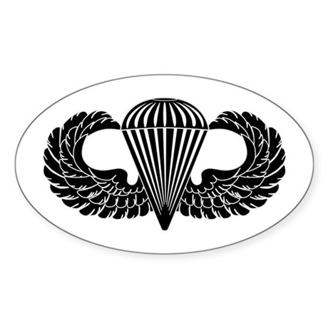 Parachutist -- B-W Sticker (Oval)