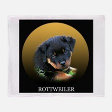 Rottweiler Puppy on Gift Idea Throw Blanket