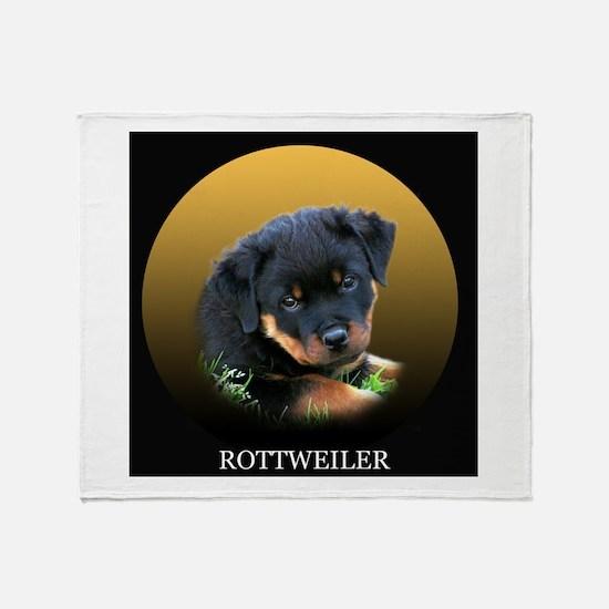 Rottweiler Puppy on Gift Idea Throw Blanket