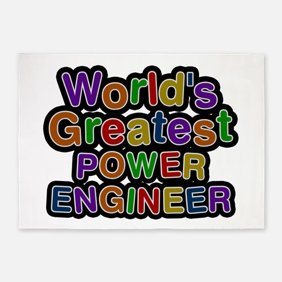 World's Greatest POWER ENGINEER 5'x7' Area Rug