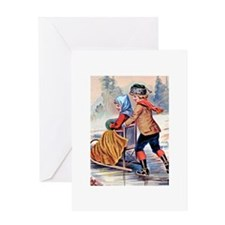 Victorian Skating Greeting Card