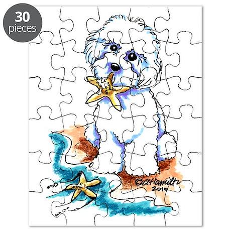 Bichon Frise Beach Puzzle
