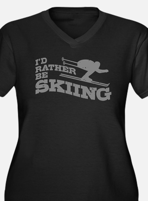 I'd Rather be Skiing Women's Plus Size V-Neck Dark