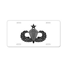 Sr. Parachutist -- B-W Aluminum License Plate