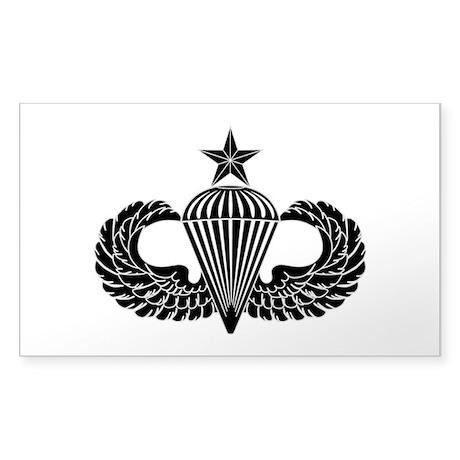Sr. Parachutist -- B-W Sticker (Rectangle)