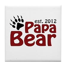 Papa Bear Claw Est 2012 Tile Coaster