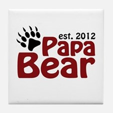 Papa Bear Claw Est 2012 Tile Coaster