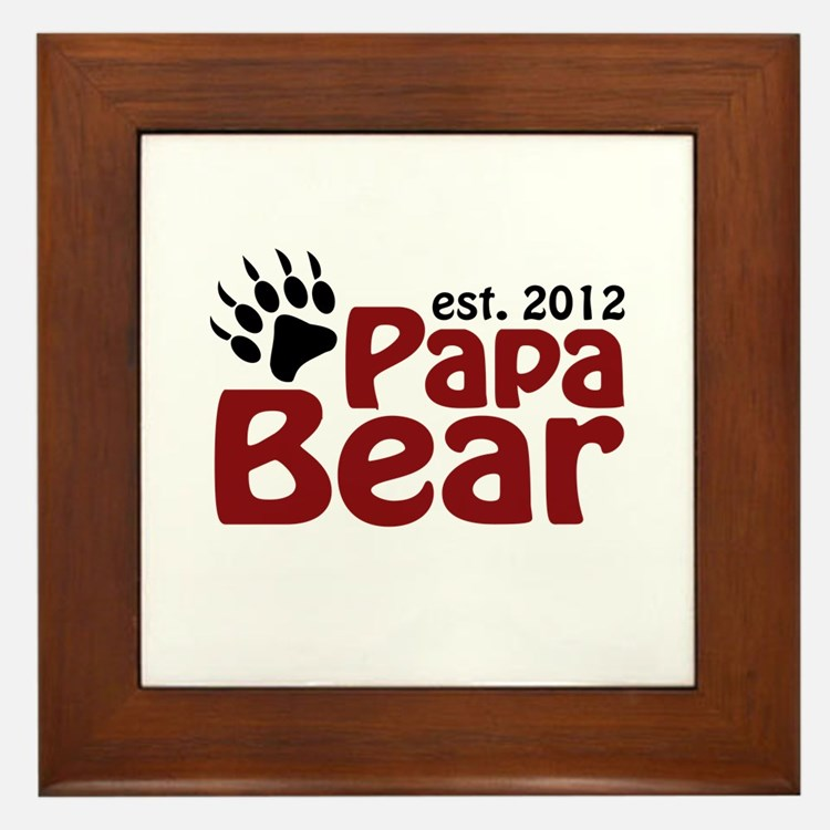 Papa Bear Claw Est 2012 Framed Tile